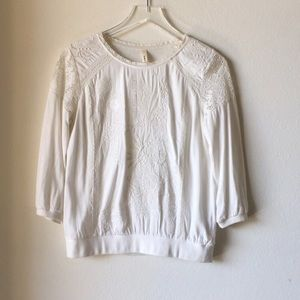 TINY Embroidered Embellished Crochet Ivory Blouse